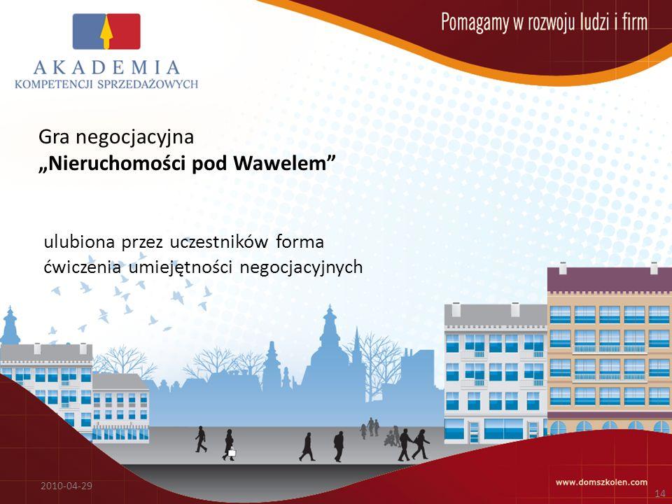 Gra negocjacyjna Nieruchomości pod Wawelem 2010-04-29 14 ulubiona przez uczestników forma ćwiczenia umiejętności negocjacyjnych