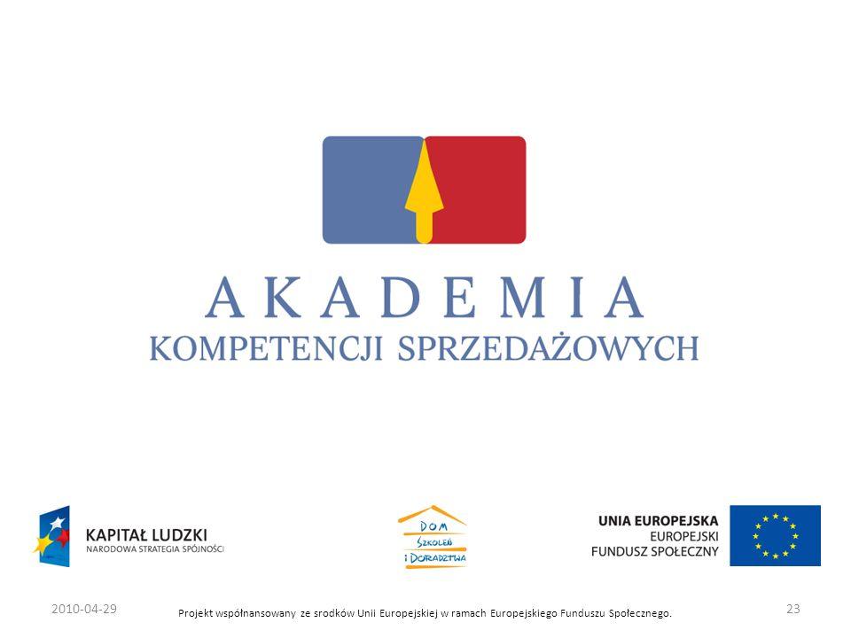 Projekt współnansowany ze srodków Unii Europejskiej w ramach Europejskiego Funduszu Społecznego. 2010-04-2923