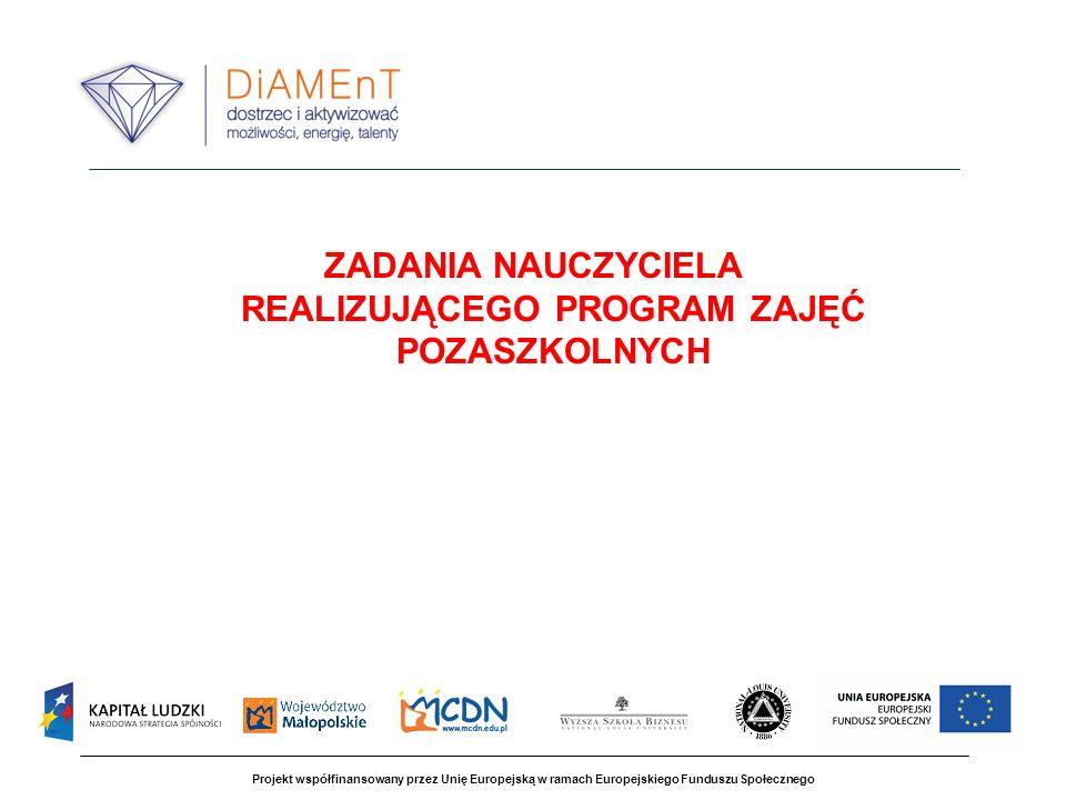 Projekt współfinansowany przez Unię Europejską w ramach Europejskiego Funduszu Społecznego ZADANIA NAUCZYCIELA REALIZUJĄCEGO PROGRAM ZAJĘĆ POZASZKOLNYCH