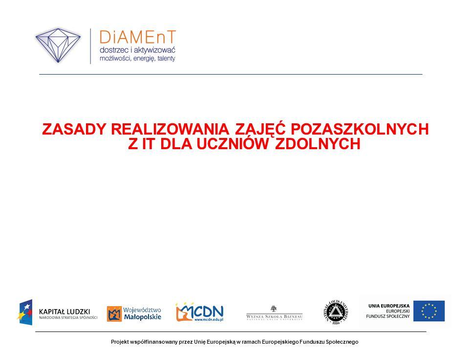 Projekt współfinansowany przez Unię Europejską w ramach Europejskiego Funduszu Społecznego ZASADY REALIZOWANIA ZAJĘĆ POZASZKOLNYCH Z IT DLA UCZNIÓW ZDOLNYCH