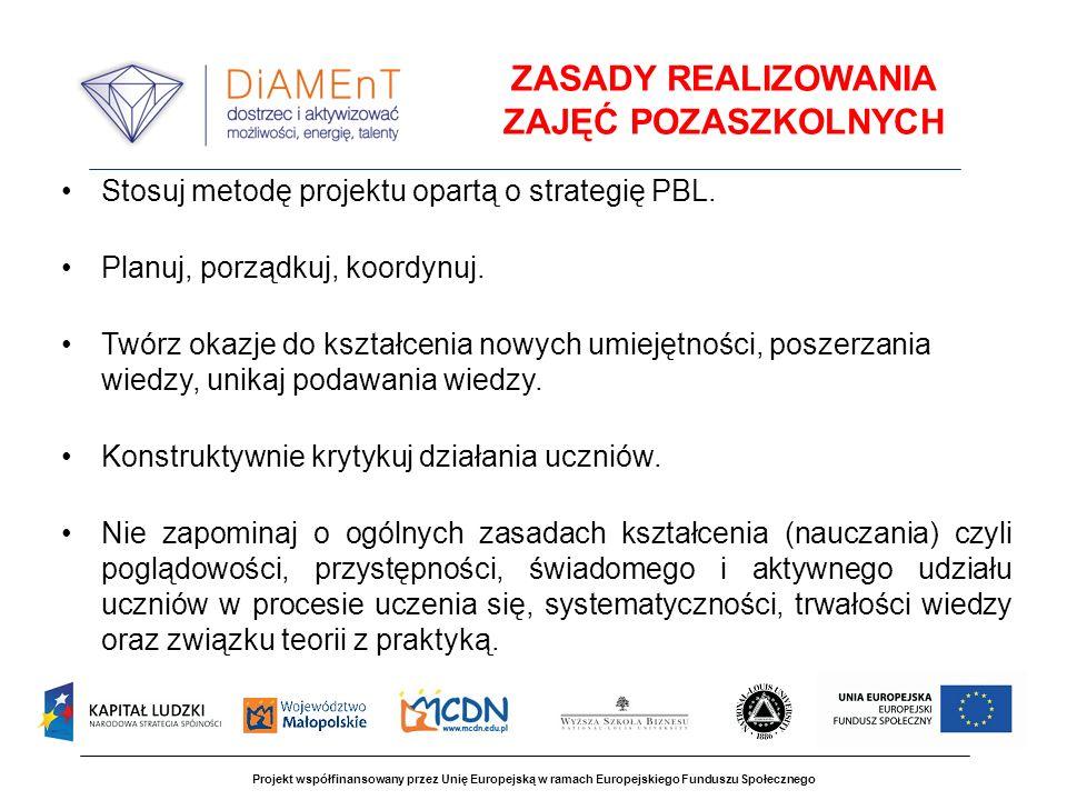 Projekt współfinansowany przez Unię Europejską w ramach Europejskiego Funduszu Społecznego ZASADY REALIZOWANIA ZAJĘĆ POZASZKOLNYCH Stosuj metodę projektu opartą o strategię PBL.