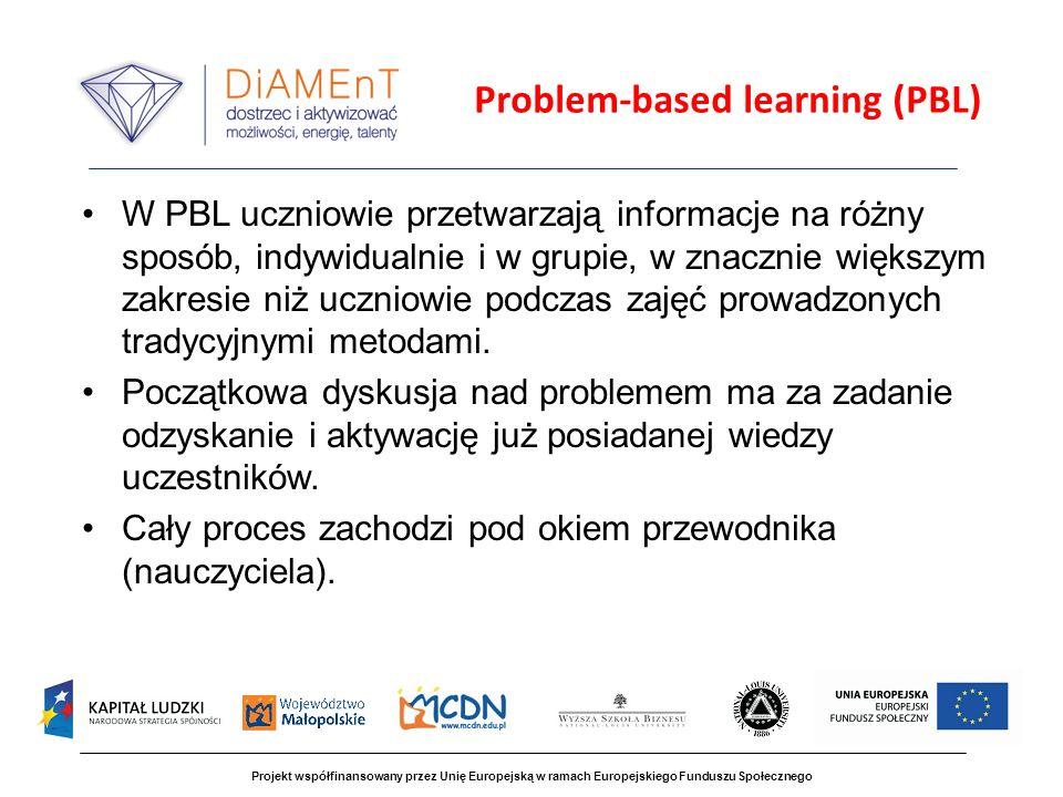 Problem-based learning (PBL) W PBL uczniowie przetwarzają informacje na różny sposób, indywidualnie i w grupie, w znacznie większym zakresie niż uczniowie podczas zajęć prowadzonych tradycyjnymi metodami.
