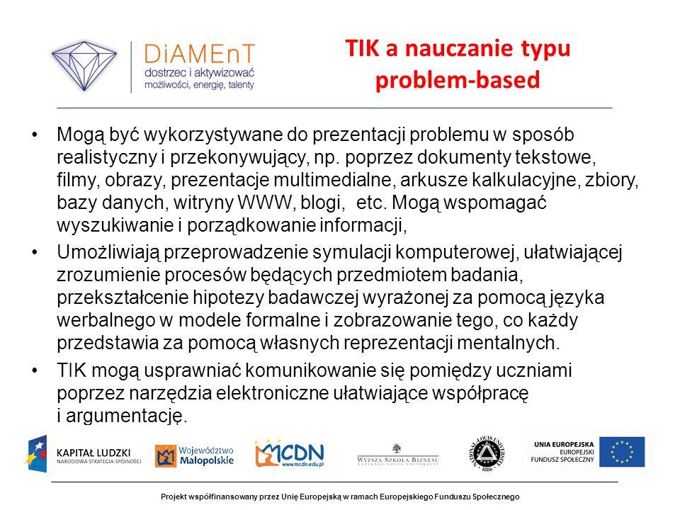 TIK a nauczanie typu problem-based Mogą być wykorzystywane do prezentacji problemu w sposób realistyczny i przekonywujący, np.