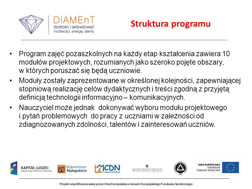 Projekt współfinansowany przez Unię Europejską w ramach Europejskiego Funduszu Społecznego ZADANIA NAUCZYCIELA oceniać realizację poszczególnych etapów projektu (nie tylko na końcu) i czuwanie nad ustalonym harmonogramem; wspierające nadzorowanie pracy uczniów; zwracanie uwagi na poprawność (fachowość) formułowanych wypowiedzi i zapisywanych wniosków, rozwiązań itp.; czuwanie nad właściwą koordynacją pracy przez grupę (Kto.