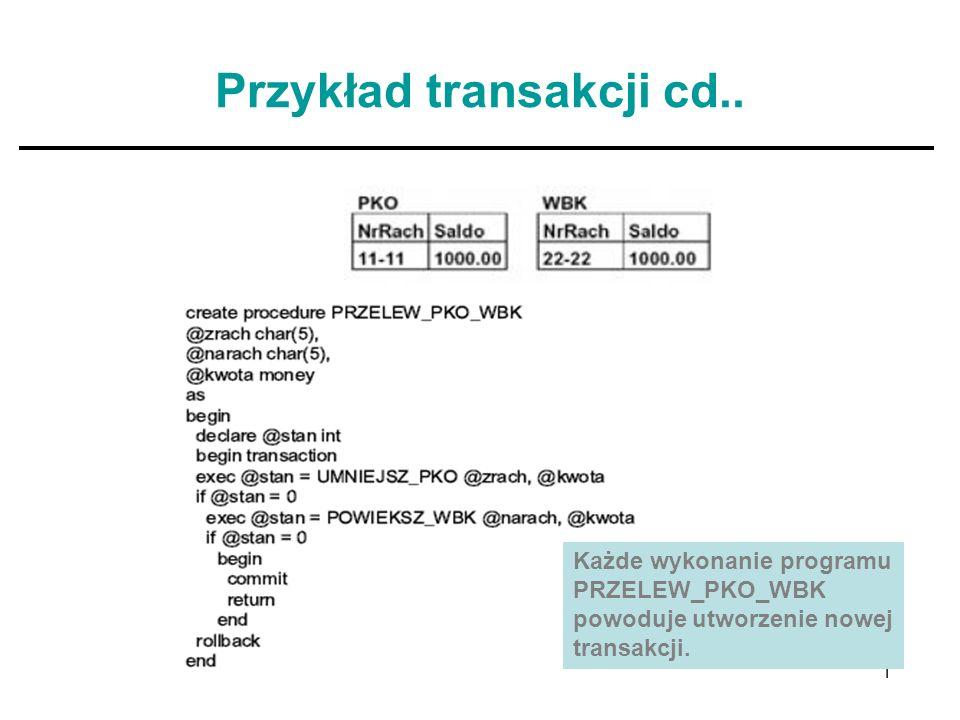 10 Przykład transakcji cd.. Każde wykonanie programu PRZELEW_PKO_WBK powoduje utworzenie nowej transakcji.