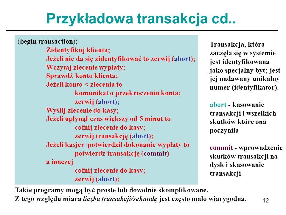 12 Przykładowa transakcja cd.. (begin transaction); Zidentyfikuj klienta; Jeżeli nie da się zidentyfikować to zerwij (abort); Wczytaj zlecenie wypłaty