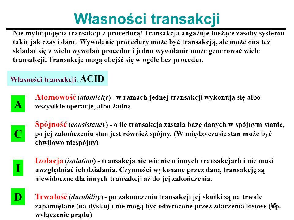 15 Własności transakcji Nie mylić pojęcia transakcji z procedurą! Transakcja angażuje bieżące zasoby systemu takie jak czas i dane. Wywołanie procedur