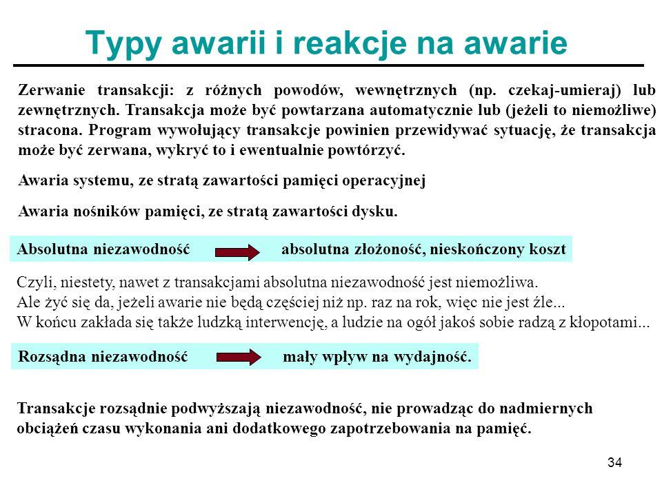 34 Typy awarii i reakcje na awarie Zerwanie transakcji: z różnych powodów, wewnętrznych (np. czekaj-umieraj) lub zewnętrznych. Transakcja może być pow