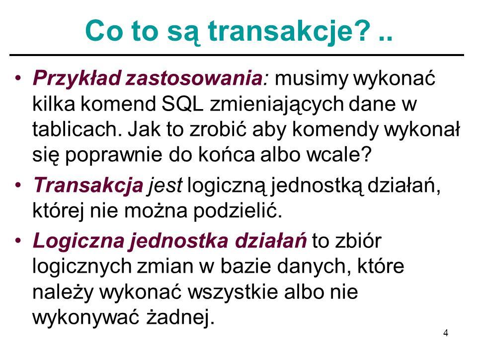 15 Własności transakcji Nie mylić pojęcia transakcji z procedurą.