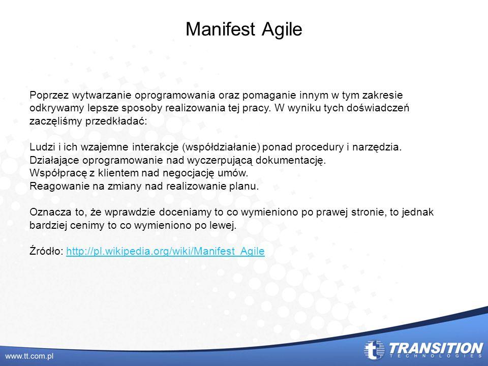 Manifest Agile Poprzez wytwarzanie oprogramowania oraz pomaganie innym w tym zakresie odkrywamy lepsze sposoby realizowania tej pracy. W wyniku tych d