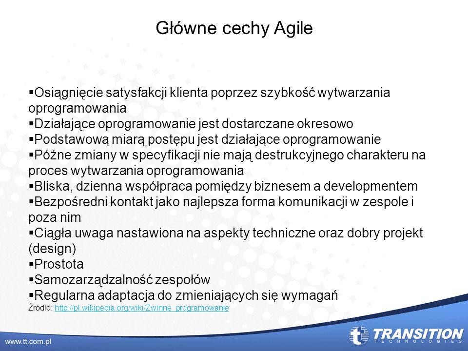 Główne cechy Agile Osiągnięcie satysfakcji klienta poprzez szybkość wytwarzania oprogramowania Działające oprogramowanie jest dostarczane okresowo Pod