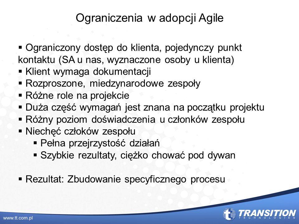 Ograniczenia w adopcji Agile Ograniczony dostęp do klienta, pojedynczy punkt kontaktu (SA u nas, wyznaczone osoby u klienta) Klient wymaga dokumentacj