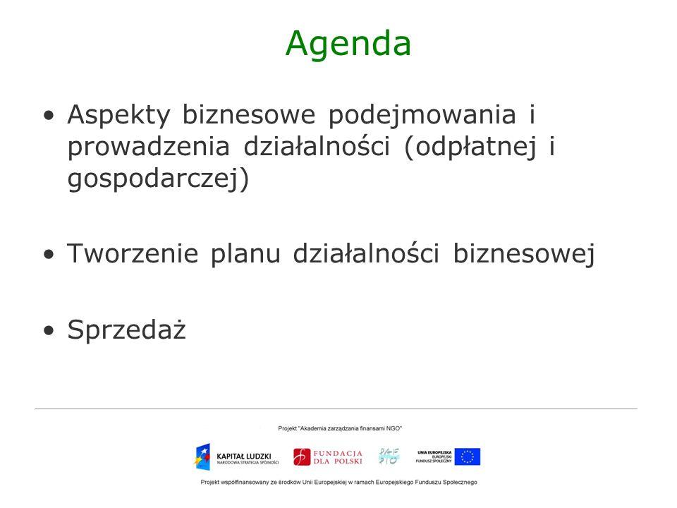 Agenda Aspekty biznesowe podejmowania i prowadzenia działalności (odpłatnej i gospodarczej) Tworzenie planu działalności biznesowej Sprzedaż
