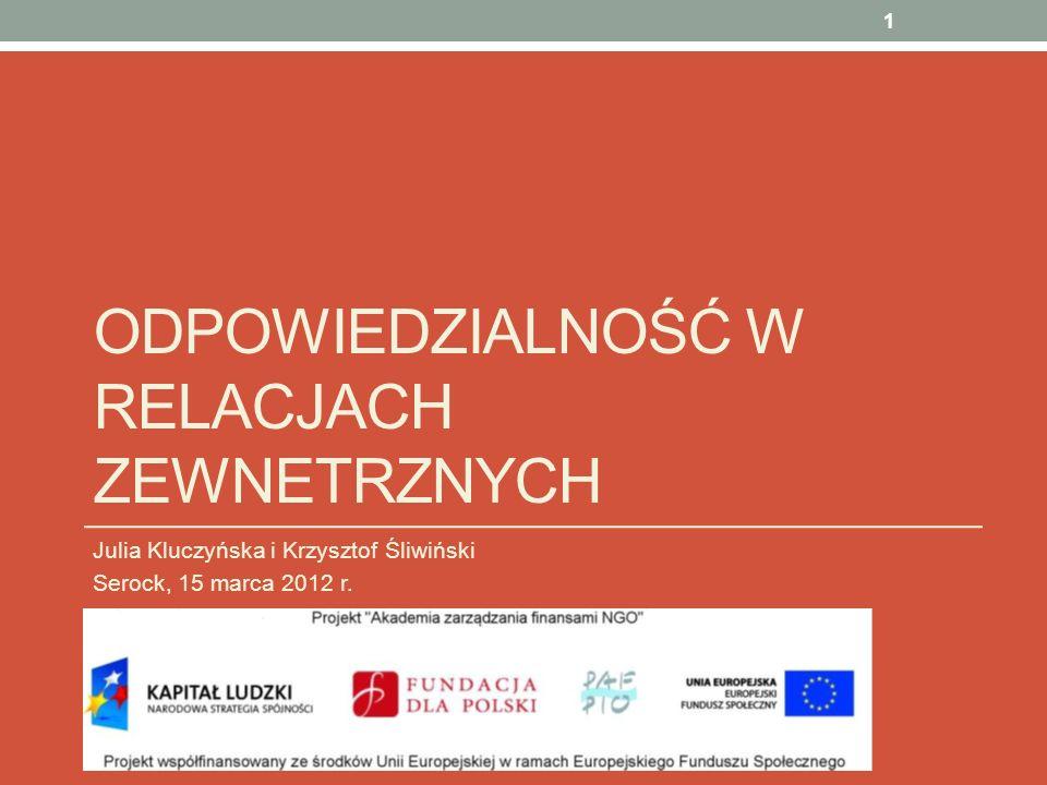 ODPOWIEDZIALNOŚĆ W RELACJACH ZEWNETRZNYCH Julia Kluczyńska i Krzysztof Śliwiński Serock, 15 marca 2012 r. 1