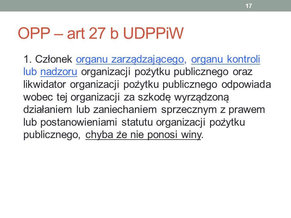 OPP – art 27 b UDPPiW 1. Członek organu zarza ̨ dzaja ̨ cego, organu kontroli lub nadzoru organizacji poz ̇ ytku publicznego oraz likwidator organizac