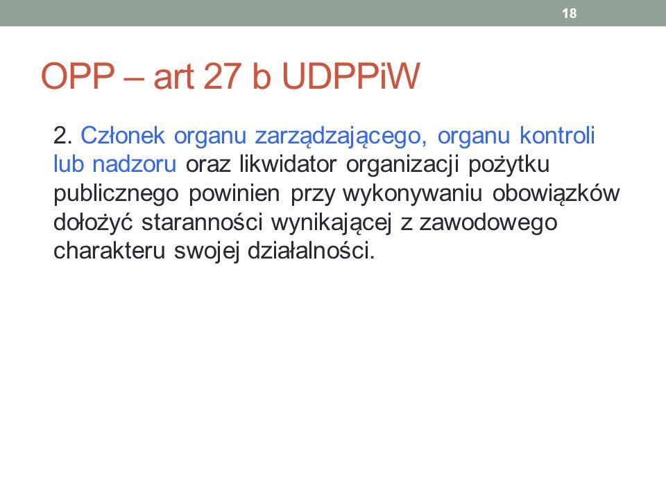 OPP – art 27 b UDPPiW 2. Członek organu zarza ̨ dzaja ̨ cego, organu kontroli lub nadzoru oraz likwidator organizacji poz ̇ ytku publicznego powinien
