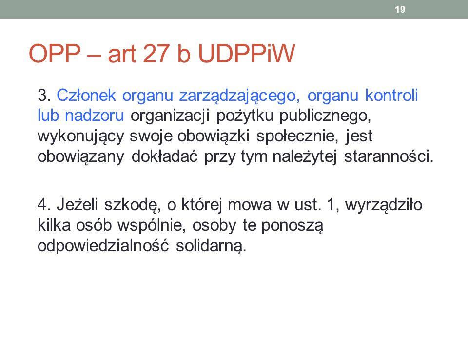 OPP – art 27 b UDPPiW 3. Członek organu zarza ̨ dzaja ̨ cego, organu kontroli lub nadzoru organizacji poz ̇ ytku publicznego, wykonuja ̨ cy swoje obow