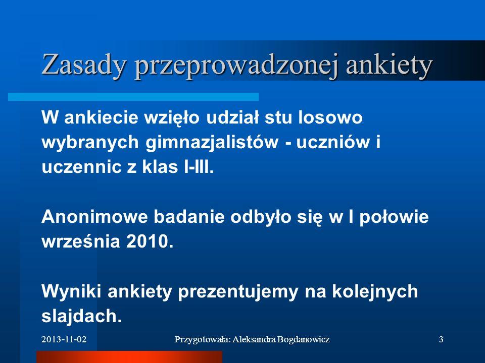 2013-11-02Przygotowała: Aleksandra Bogdanowicz2 Cel ankiety: Sprawdzenie, w jakim stopniu młodzież w gimnazjum im. Roberta Schumanna wierzy w swoje mo