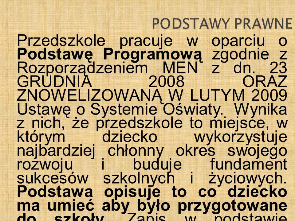 Przedszkole pracuje w oparciu o Podstawę Programową zgodnie z Rozporządzeniem MEN z dn. 23 GRUDNIA 2008 ORAZ ZNOWELIZOWANĄ W LUTYM 2009 Ustawę o Syste