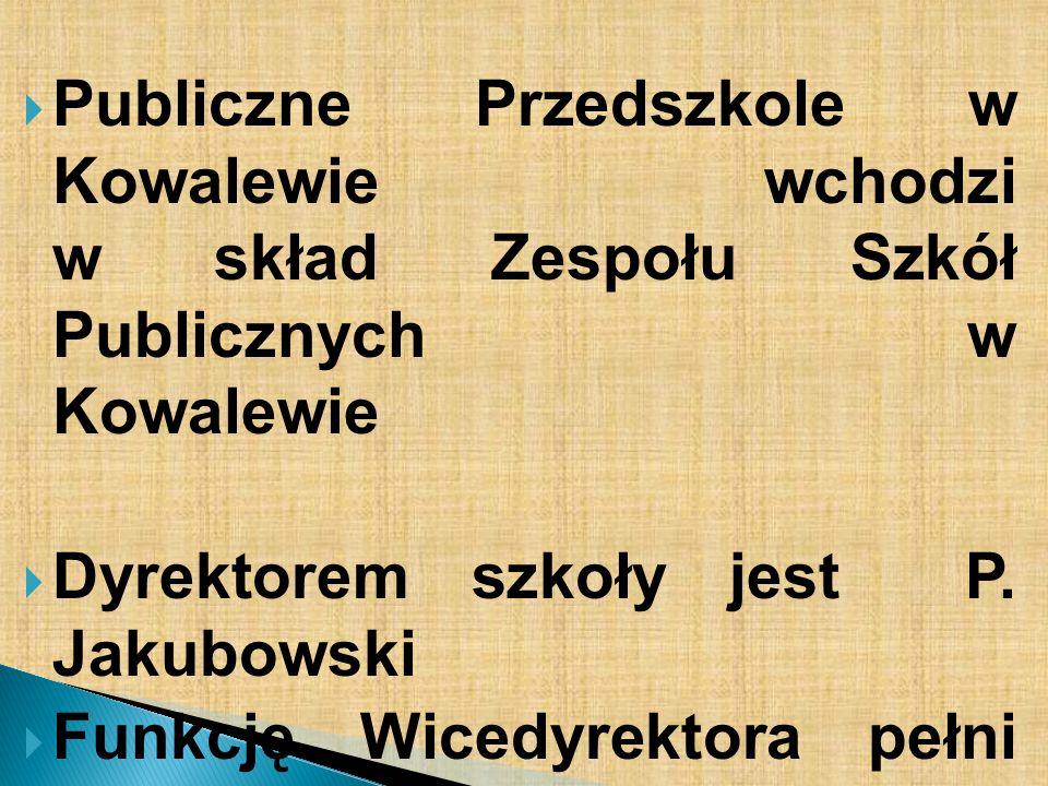 Publiczne Przedszkole w Kowalewie wchodzi w skład Zespołu Szkół Publicznych w Kowalewie Dyrektorem szkoły jest P. Jakubowski Funkcję Wicedyrektora peł