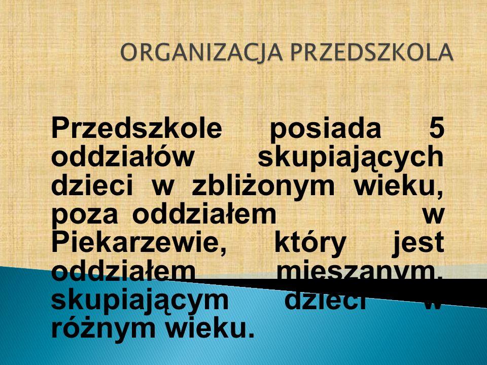 Przedszkole posiada 5 oddziałów skupiających dzieci w zbliżonym wieku, poza oddziałem w Piekarzewie, który jest oddziałem mieszanym, skupiającym dziec