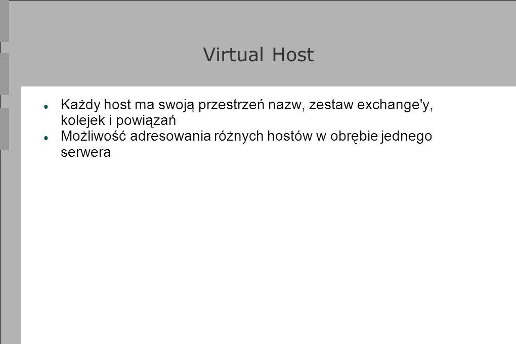Virtual Host Każdy host ma swoją przestrzeń nazw, zestaw exchange'y, kolejek i powiązań Możliwość adresowania różnych hostów w obrębie jednego serwera