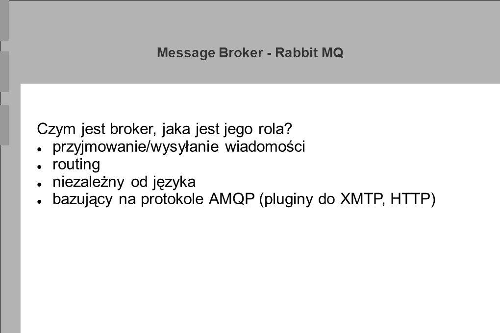 Message Broker - Rabbit MQ Czym jest broker, jaka jest jego rola? przyjmowanie/wysyłanie wiadomości routing niezależny od języka bazujący na protokole