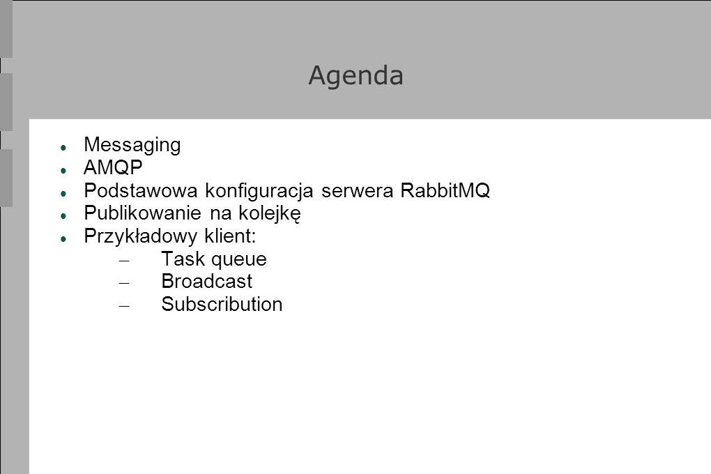 Agenda Messaging AMQP Podstawowa konfiguracja serwera RabbitMQ Publikowanie na kolejkę Przykładowy klient: – Task queue – Broadcast – Subscribution