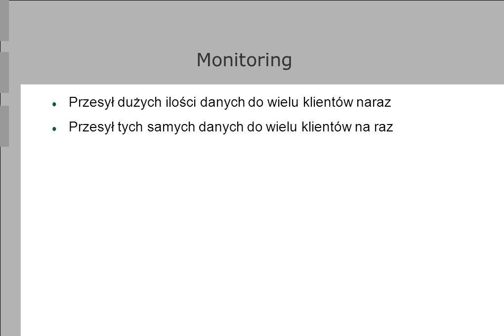 Monitoring Przesył dużych ilości danych do wielu klientów naraz Przesył tych samych danych do wielu klientów na raz