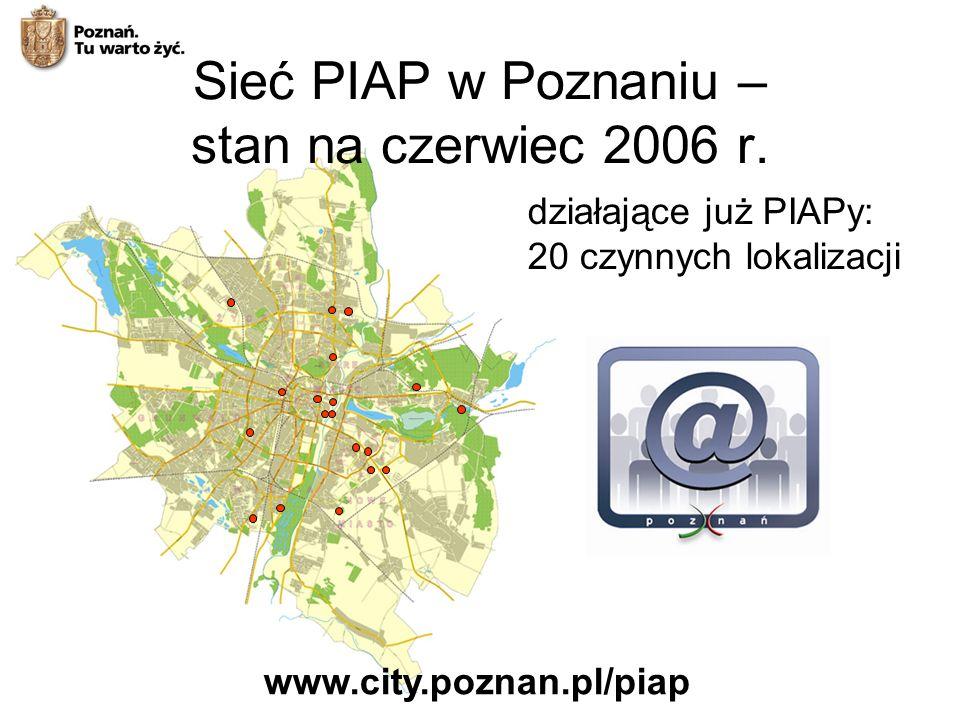 działające już PIAPy: 20 czynnych lokalizacji www.city.poznan.pl/piap Sieć PIAP w Poznaniu – stan na czerwiec 2006 r.