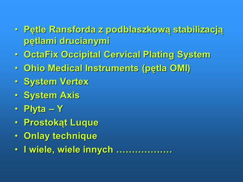 Pętle Ransforda z podblaszkową stabilizacją pętlami drucianymiPętle Ransforda z podblaszkową stabilizacją pętlami drucianymi OctaFix Occipital Cervica