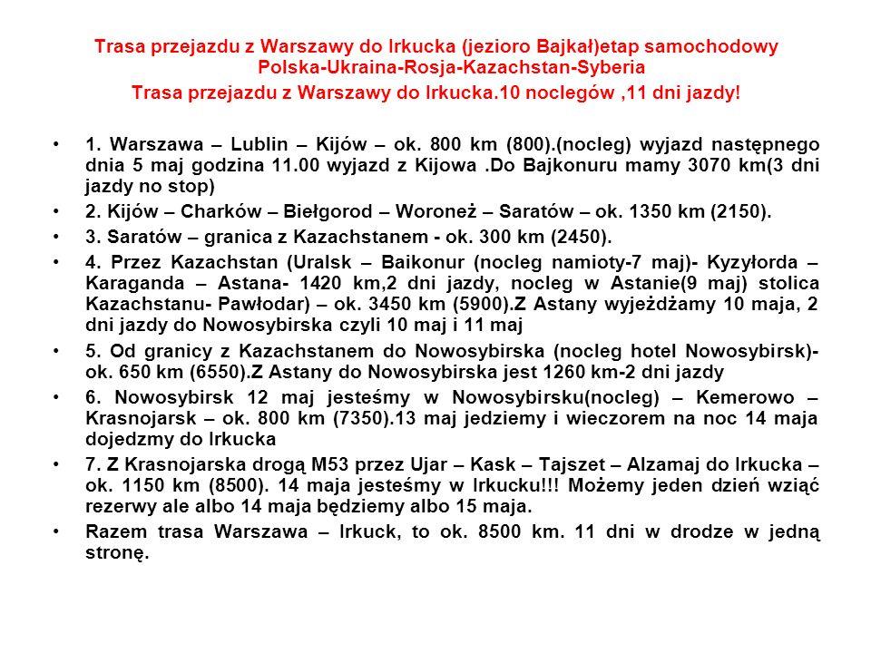Trasa przejazdu z Warszawy do Irkucka (jezioro Bajkał)etap samochodowy Polska-Ukraina-Rosja-Kazachstan-Syberia Trasa przejazdu z Warszawy do Irkucka.1