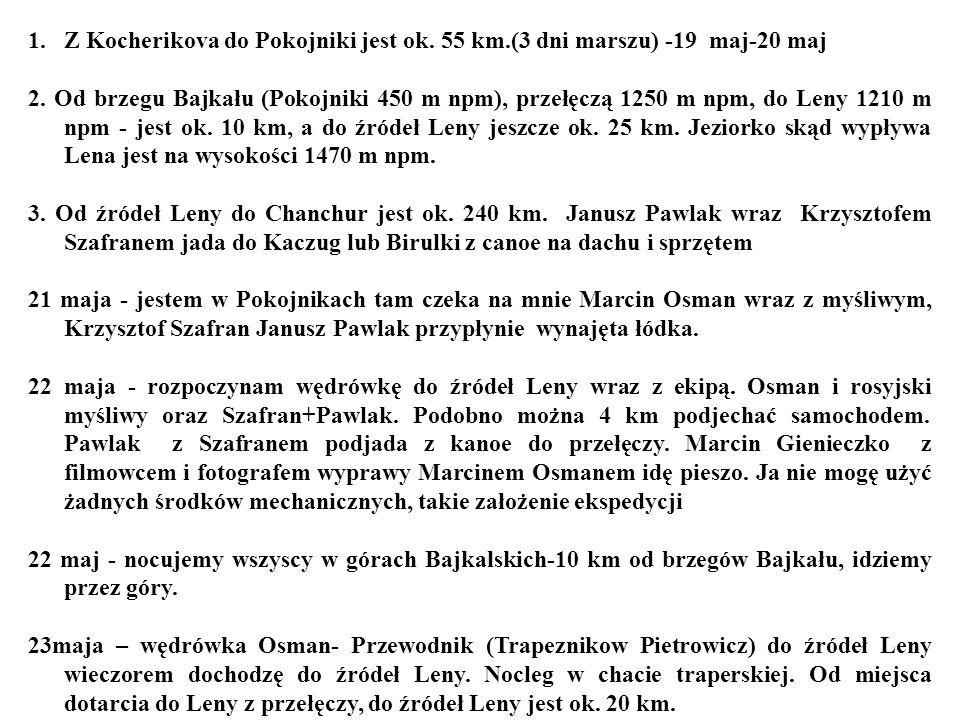 1.Z Kocherikova do Pokojniki jest ok. 55 km.(3 dni marszu) -19 maj-20 maj 2. Od brzegu Bajkału (Pokojniki 450 m npm), przełęczą 1250 m npm, do Leny 12
