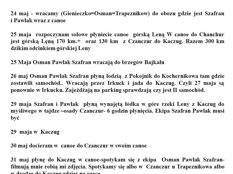 24 maj - wracamy (Gienieczko=Osman=Trapeznikow) do obozu gdzie jest Szafran i Pawlak wraz z canoe 25 maja rozpoczynam solowe płyniecie canoe górską Le