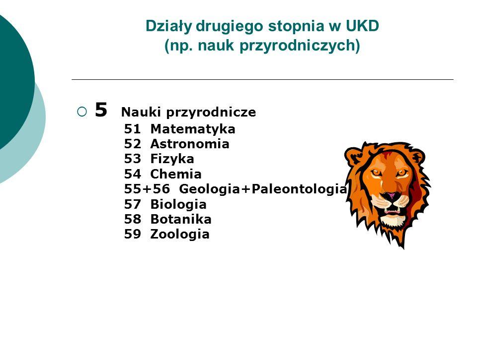 Działy drugiego stopnia w UKD (np. nauk przyrodniczych) 5 Nauki przyrodnicze 51 Matematyka 52 Astronomia 53 Fizyka 54 Chemia 55+56 Geologia+Paleontolo