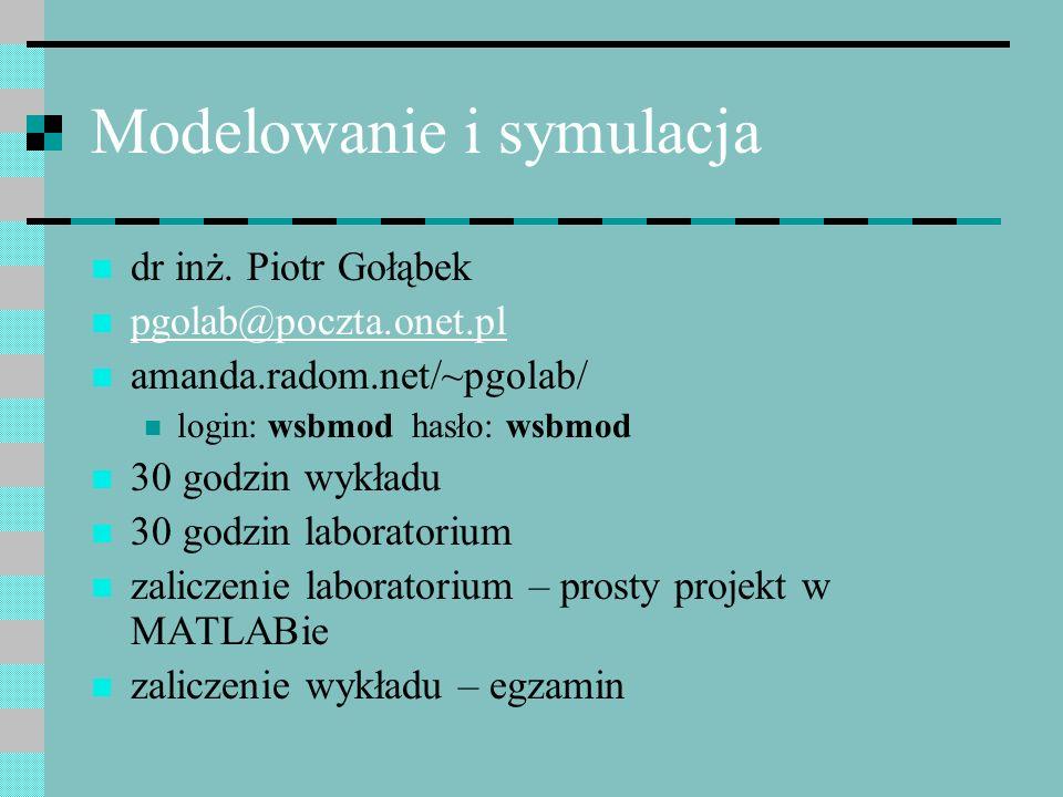 Modelowanie i symulacja dr inż. Piotr Gołąbek pgolab@poczta.onet.pl amanda.radom.net/~pgolab/ login: wsbmod hasło: wsbmod 30 godzin wykładu 30 godzin