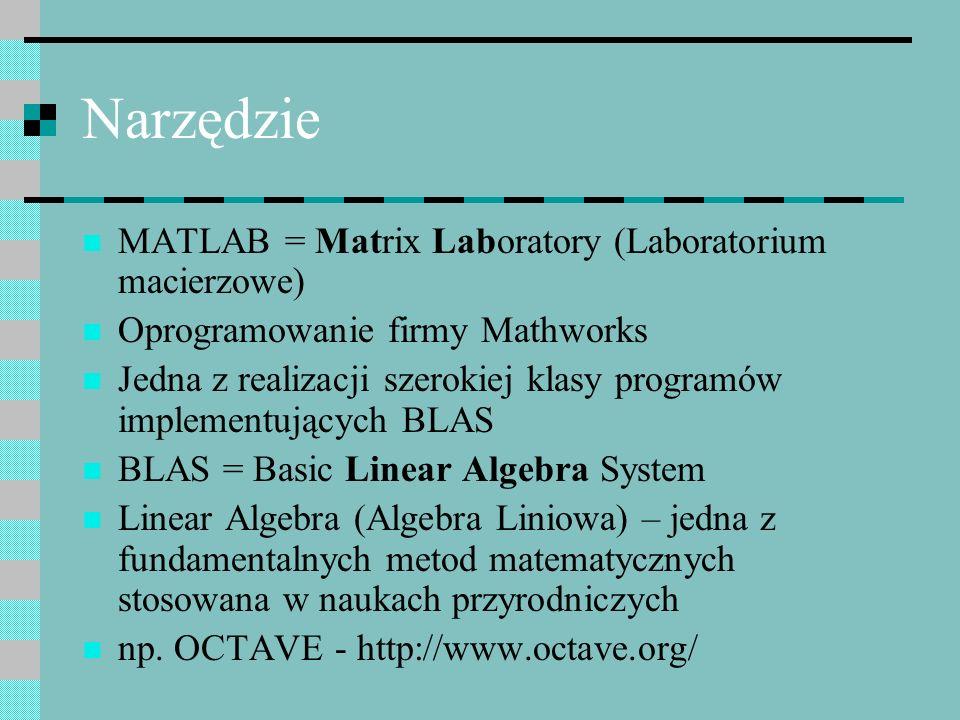 Narzędzie MATLAB = Matrix Laboratory (Laboratorium macierzowe) Oprogramowanie firmy Mathworks Jedna z realizacji szerokiej klasy programów implementuj