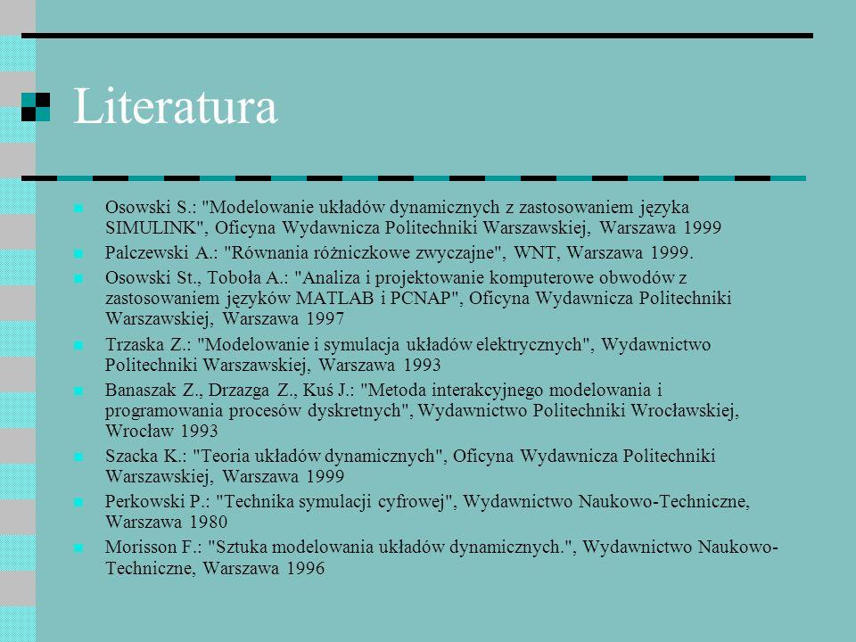 Literatura Osowski S.: