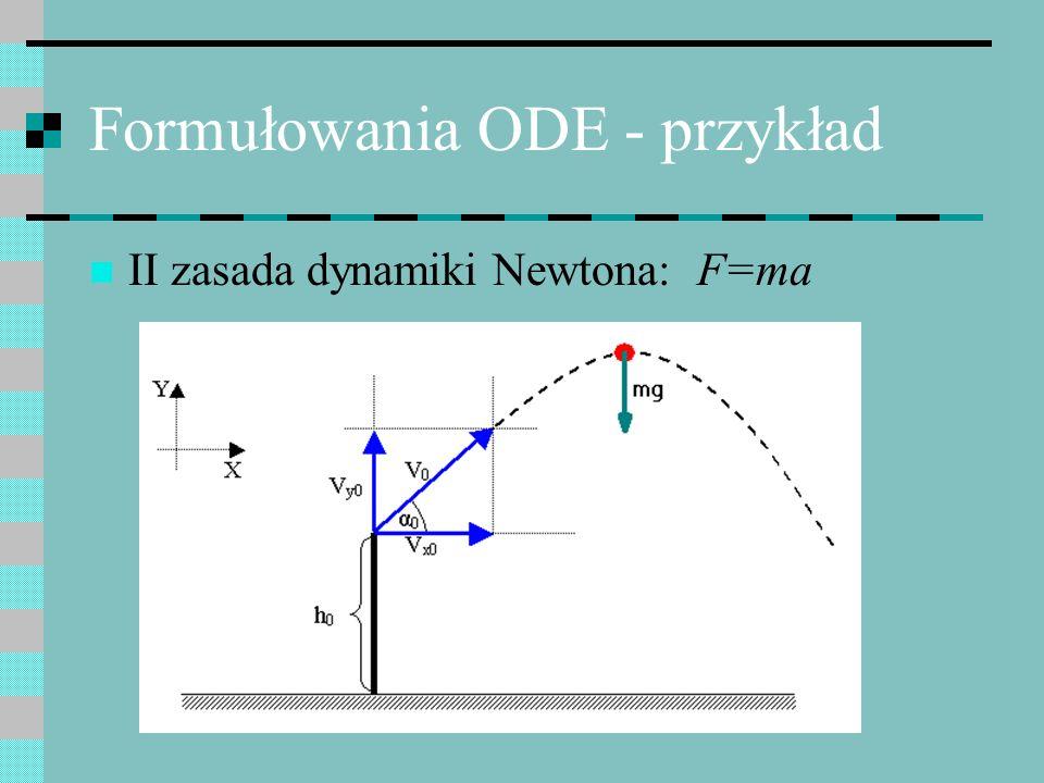 Formułowania ODE - przykład Zasada Galileusza: składowe ruchu w ortogonalnych kierunkach x,y można rozpatrywać niezależnie
