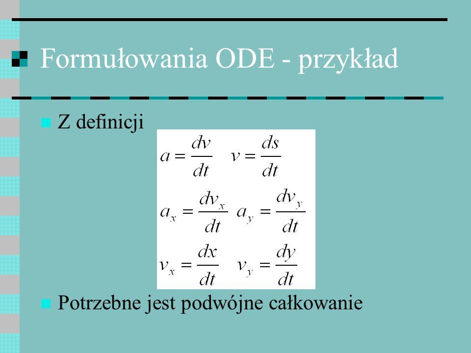Formułowania ODE - przykład W kierunku x: