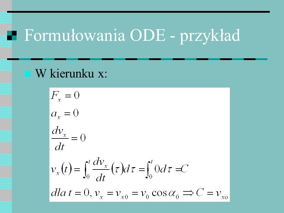 Schemat Eulera Zaczynając od znanej wartości y(0) powtarza się iteracyjnie przepis: dochodząc wreszcie do punktu końcowego t k Zapis oznacza przybliżoną wartość y(t i )