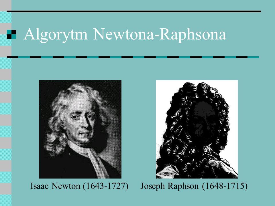 Algorytm Newtona-Raphsona Isaac Newton (1643-1727)Joseph Raphson (1648-1715)