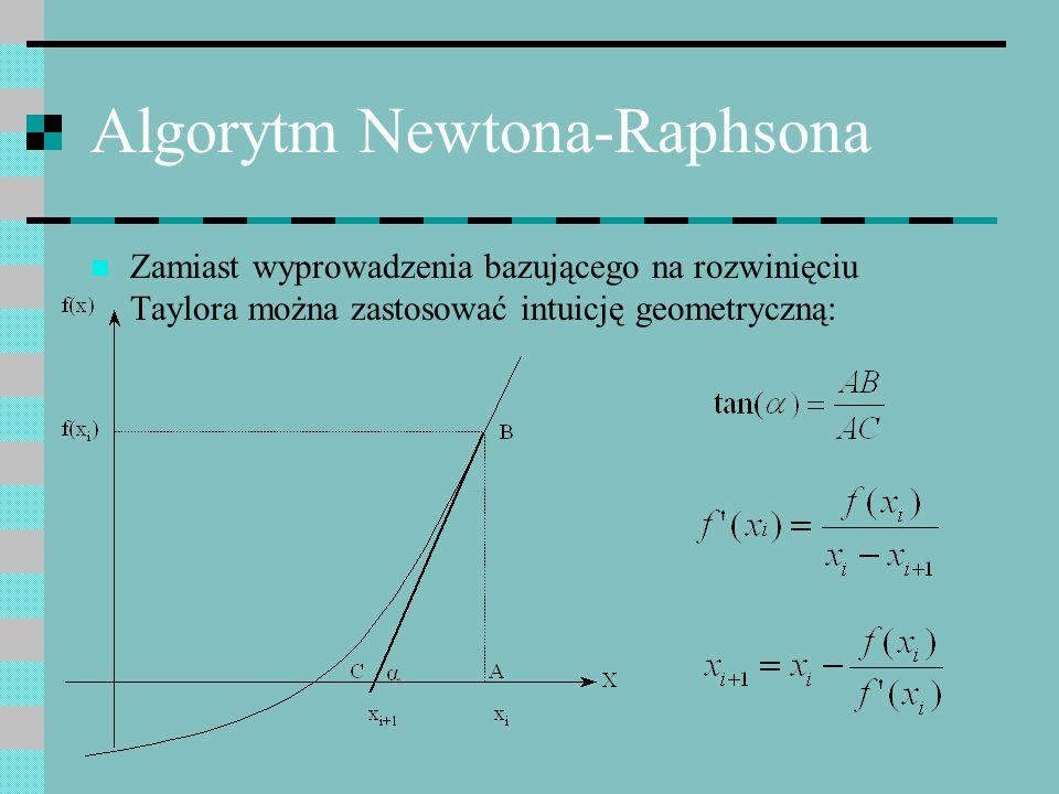 Algorytm Newtona-Raphsona Zamiast wyprowadzenia bazującego na rozwinięciu Taylora można zastosować intuicję geometryczną: