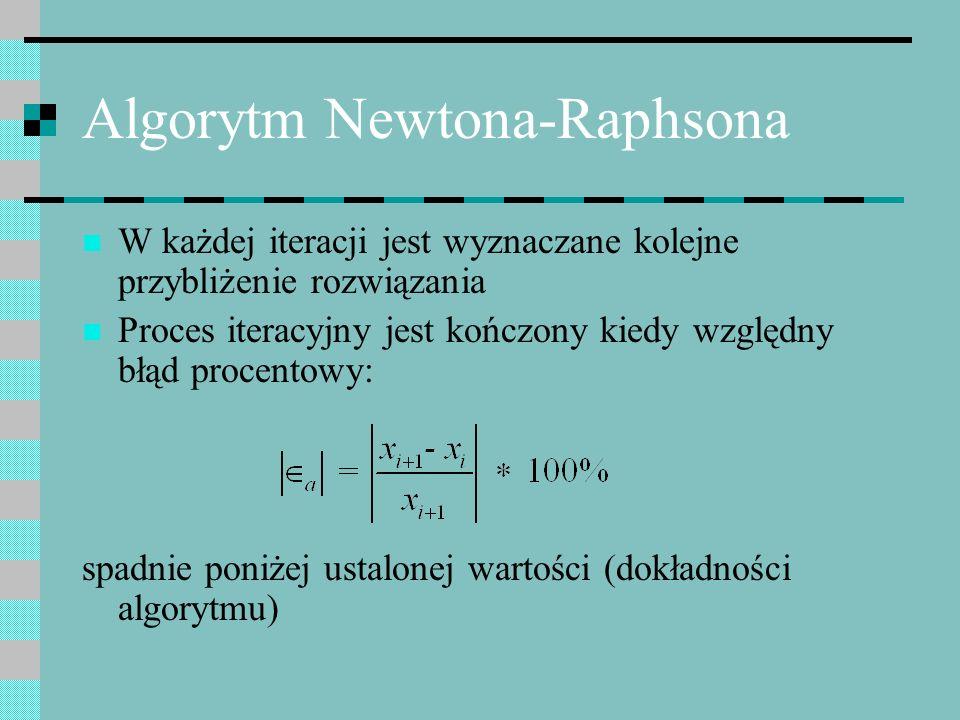 Algorytm Newtona-Raphsona W każdej iteracji jest wyznaczane kolejne przybliżenie rozwiązania Proces iteracyjny jest kończony kiedy względny błąd proce