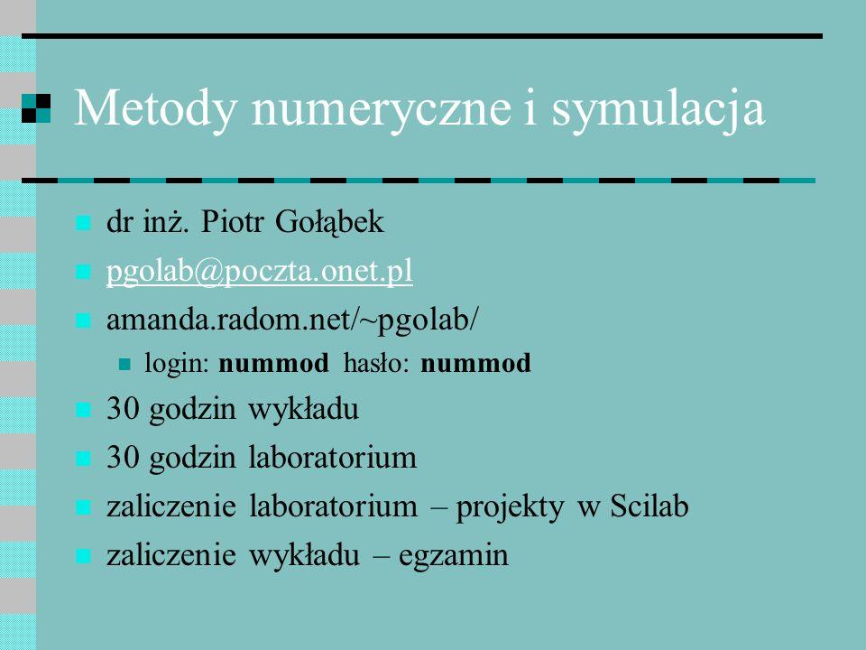 Metody numeryczne i symulacja dr inż. Piotr Gołąbek pgolab@poczta.onet.pl amanda.radom.net/~pgolab/ login: nummod hasło: nummod 30 godzin wykładu 30 g