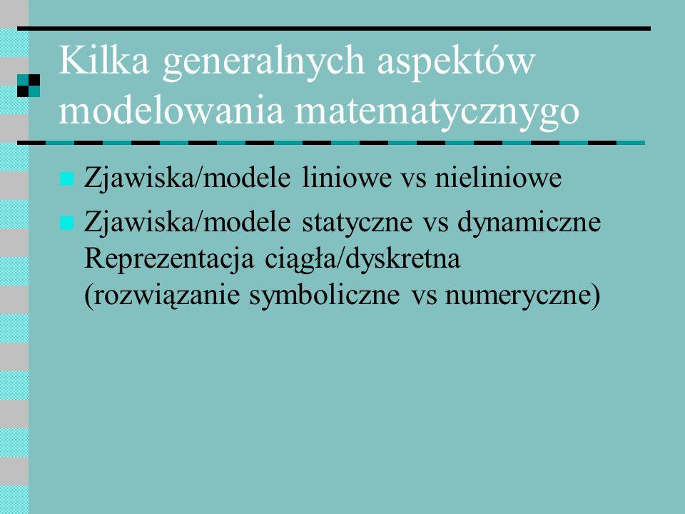 Kilka generalnych aspektów modelowania matematycznygo Zjawiska/modele liniowe vs nieliniowe Zjawiska/modele statyczne vs dynamiczne Reprezentacja ciąg