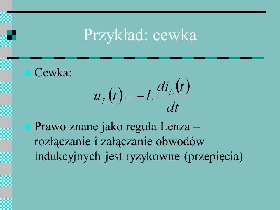 Przykład: cewka Cewka: Prawo znane jako reguła Lenza – rozłączanie i załączanie obwodów indukcyjnych jest ryzykowne (przepięcia)
