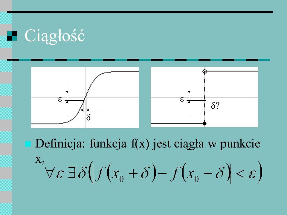 Definicja: funkcja f(x) jest ciągła w punkcie x 0 ε δ?δ? ε δ