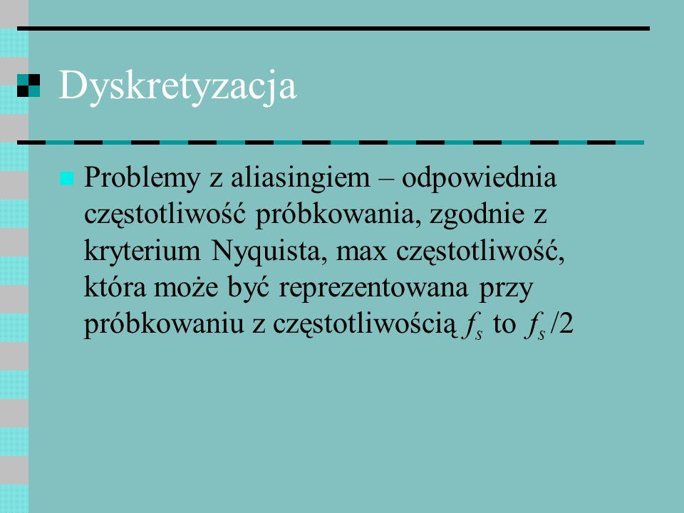 Dyskretyzacja Problemy z aliasingiem – odpowiednia częstotliwość próbkowania, zgodnie z kryterium Nyquista, max częstotliwość, która może być reprezen