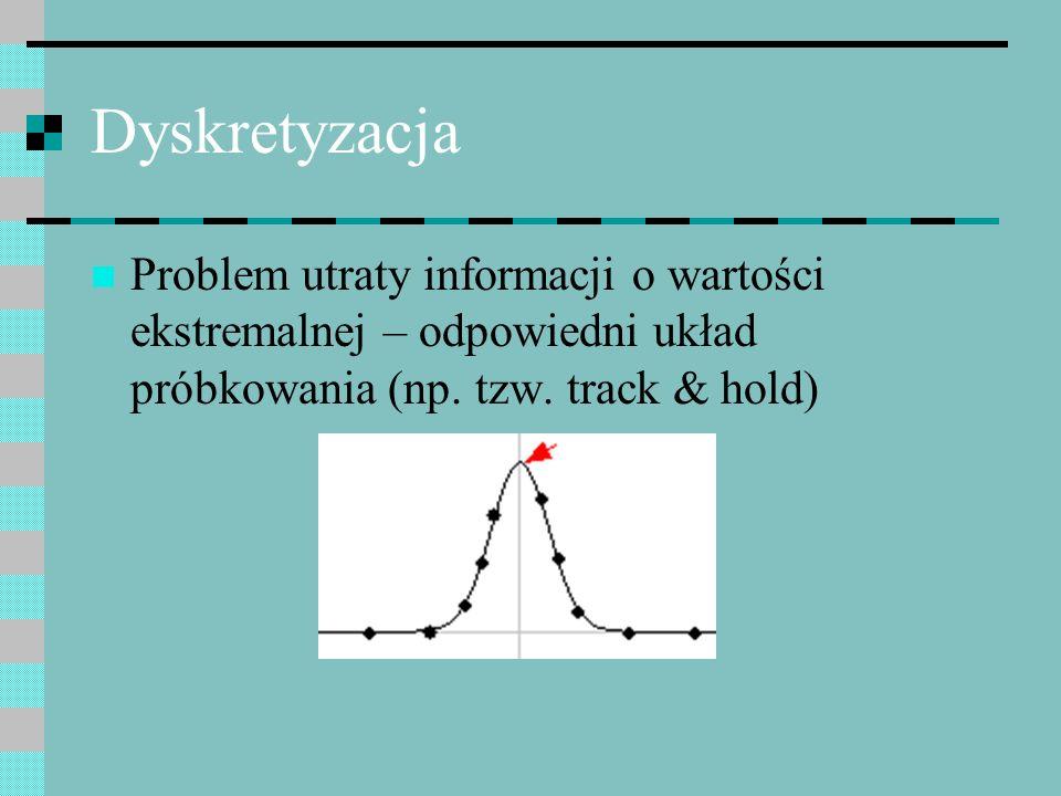 Dyskretyzacja Problem utraty informacji o wartości ekstremalnej – odpowiedni układ próbkowania (np. tzw. track & hold)